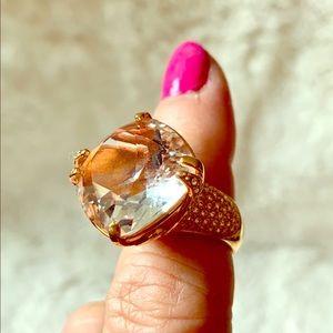 SWAROVSKI Large Peach Crystal Rose Tone Ring